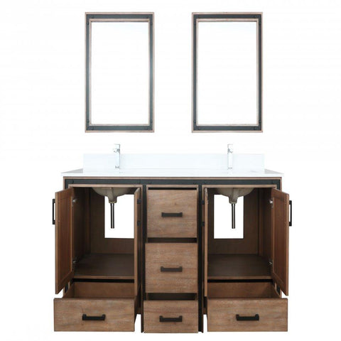 "Image of Bathroom Vanities - 72"" Rustic Barnwood Double Vanity, Cultured Marble Top, White Square Sink And 30"" Mirrors"