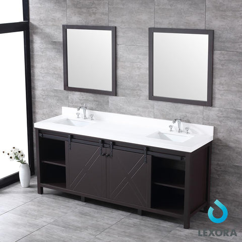 "Image of Bathroom Vanities - 80"" Brown Double Vanity, White Quartz Top, White Square Sinks And 30"" Mirrors"