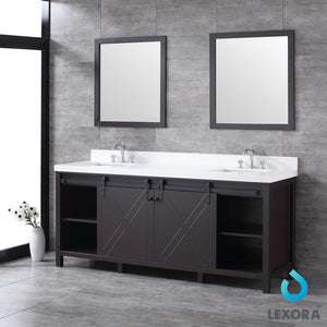 "Bathroom Vanities - 80"" Brown Double Vanity, White Quartz Top, White Square Sinks And 30"" Mirrors"