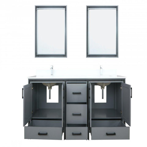 "Image of Bathroom Vanities - 80"" Dark Grey Double Vanity, Cultured Marble Top, White Square Sink And 30"" Mirrors"