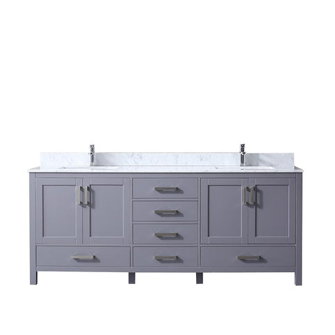"Image of Bathroom Vanities - 80"" Dark Grey Double Vanity, White Carrara Marble Top, White Square Sinks And No Mirror"