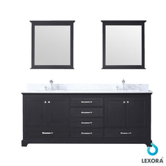"Bathroom Vanities - 80"" Espresso Double Vanity, White Carrara Marble Top, White Square Sinks And 30"" Mirrors"