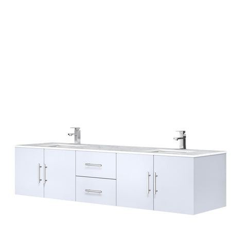 "Image of Bathroom Vanities - 80"" Glossy White Double Vanity, White Carrara Marble Top, White Square Sinks And No Mirror"