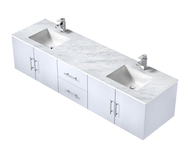 "Bathroom Vanities - 80"" Glossy White Double Vanity, White Carrara Marble Top, White Square Sinks And No Mirror"