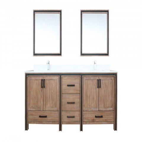 "Image of Bathroom Vanities - 80"" Rustic Barnwood Double Vanity, Cultured Marble Top, White Square Sink And 30"" Mirrors"