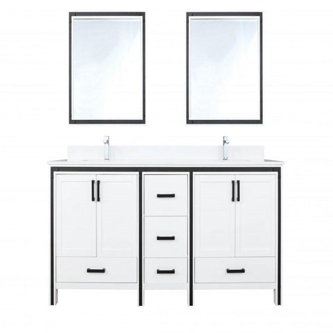 "Image of Bathroom Vanities - 80"" White Double Vanity, Cultured Marble Top, White Square Sink And 30"" Mirrors"