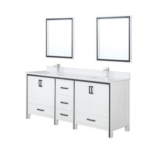 "Bathroom Vanities - 80"" White Double Vanity, Cultured Marble Top, White Square Sink And 30"" Mirrors"