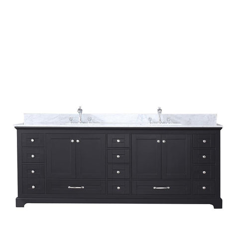 "Bathroom Vanities - 84"" Espresso Double Vanity, White Carrara Marble Top, White Square Sinks And No Mirror"