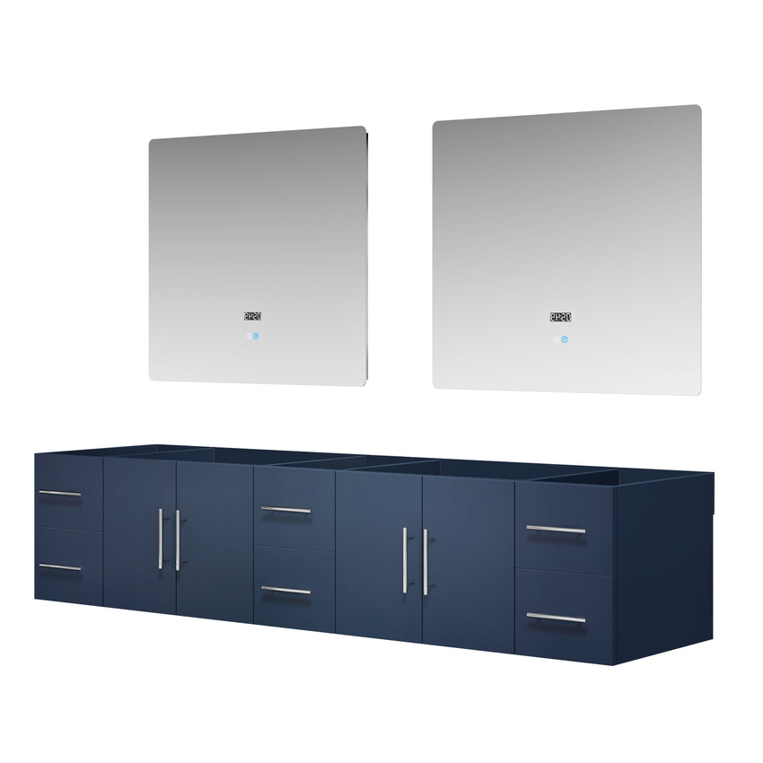 "Bathroom Vanities - 84"" Navy Blue Double Vanity, No Top And 36"" LED Mirrors"