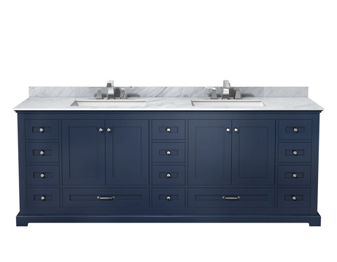 "Bathroom Vanities - 84"" Navy Blue Double Vanity, White Carrara Marble Top, White Square Sinks And No Mirror"
