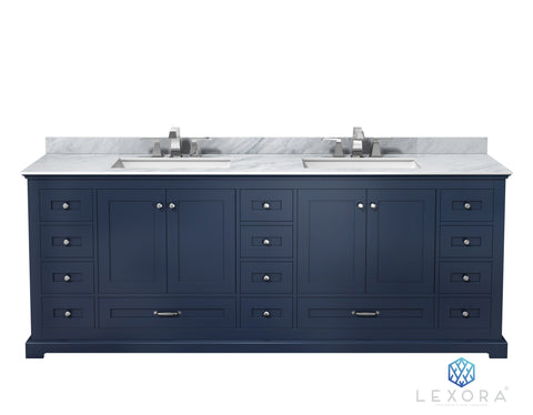 "Image of Bathroom Vanities - 84"" Navy Blue Double Vanity, White Carrara Marble Top, White Square Sinks And No Mirror"
