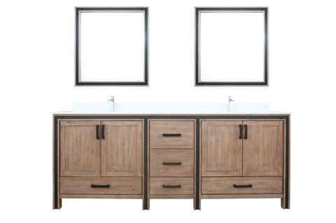 "Bathroom Vanities - 84"" Rustic Barnwood Double Vanity, Cultured Marble Top, White Square Sink And 34"" Mirrors"