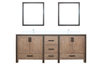 "Bathroom Vanities - 84"" Rustic Barnwood Double Vanity, Cultured Marble Top, White Square Sink And 34"" Mirrors W/ Faucet"