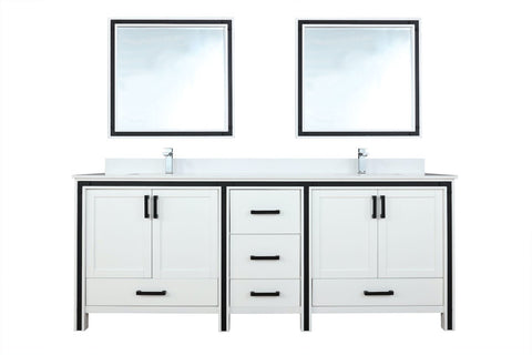 "Image of Bathroom Vanities - 84"" White Double Vanity, Cultured Marble Top, White Square Sink And 34"" Mirrors"