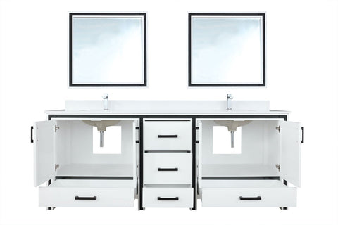 "Bathroom Vanities - 84"" White Double Vanity, Cultured Marble Top, White Square Sink And 34"" Mirrors"