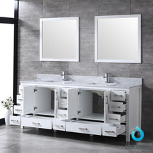 "Load image into Gallery viewer, Bathroom Vanities - 84"" White Double Vanity, White Carrara Marble Top, White Square Sinks And 34"" Mirrors"