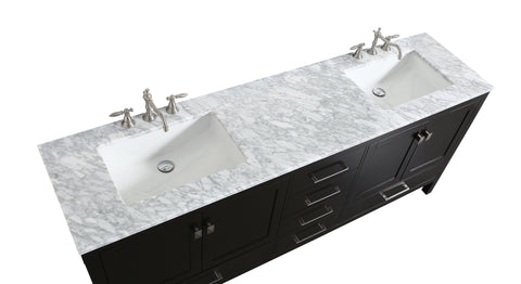 Image of Bathroom Vanities - Aberdeen 84-inch Espresso Transitional Double Sink Bathroom Vanity With White Carrara Marble Countertop And Undermount Porcelain Sinks