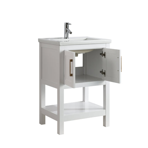 "Bathroom Vanities - Alissa 24"" Single Sink Bathroom Vanity In White"
