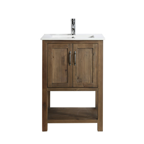 "Image of Bathroom Vanities - Austin 24"" Single Sink Bathroom  Vanity In Walnut"