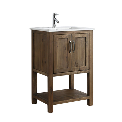 "Bathroom Vanities - Austin 24"" Single Sink Bathroom  Vanity In Walnut"
