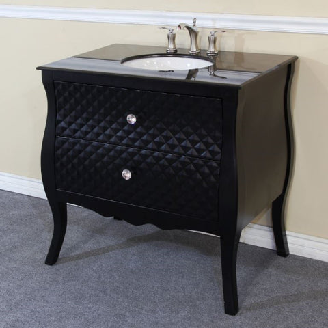 Image of Bathroom Vanities - Bathroom Vanity 35.4-Inches Single Sink Set Wood Black
