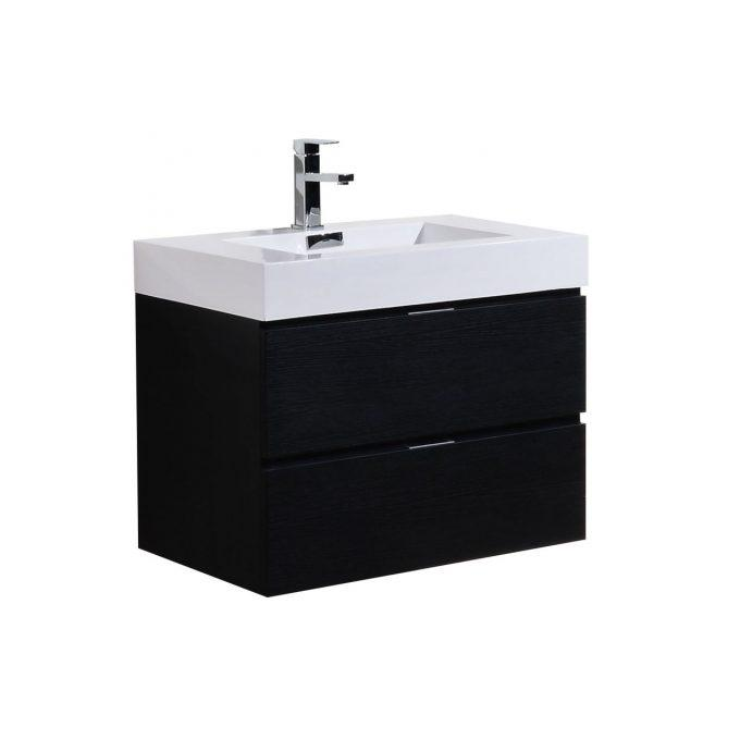 "Bathroom Vanities - Bliss 30"" Black Wall Mount Modern Bathroom Vanity"