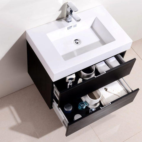 "Image of Bathroom Vanities - Bliss 30"" Black Wall Mount Modern Bathroom Vanity"