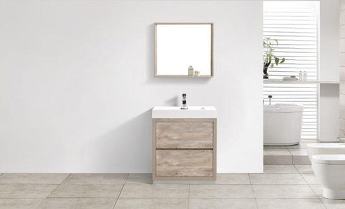 "Bathroom Vanities - Bliss 30"" Nature Wood Floor Mount Modern Bathroom Vanity"