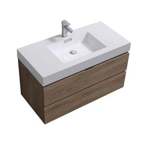 "Bathroom Vanities - Bliss 40"" Butternut Wall Mount Modern Bathroom Vanity"