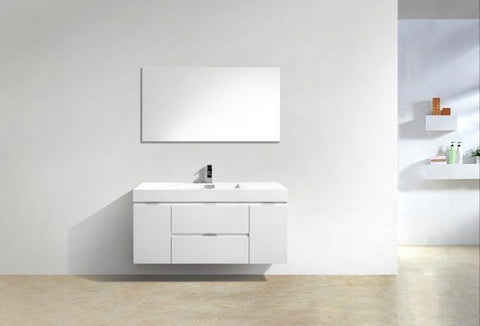 "Bathroom Vanities - Bliss 48"" High Gloss White Wall Mount Modern Bathroom Vanity"
