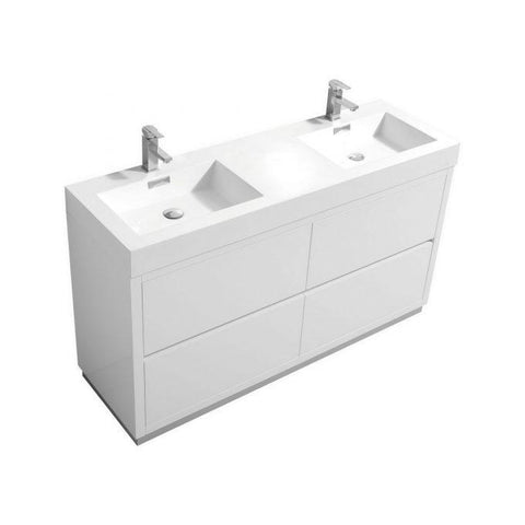 "Image of Bathroom Vanities - Bliss 60"" Double Sink High Gloss White Freestanding Modern Bathroom Vanity"