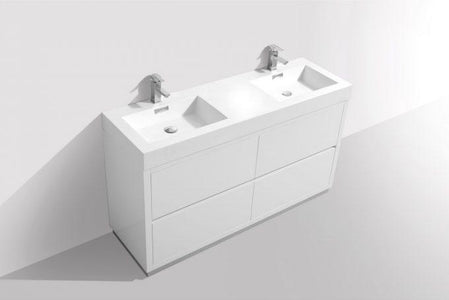 "Bathroom Vanities - Bliss 60"" Double Sink High Gloss White Freestanding Modern Bathroom Vanity"