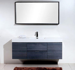 "Bathroom Vanities - Bliss 60"" Gray Oak Wall Mount Single Sink Modern Bathroom Vanity"