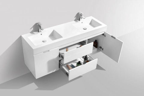 "Bathroom Vanities - Bliss 60"" High Gloss White Wall Mount Double Sink Modern Bathroom Vanity"