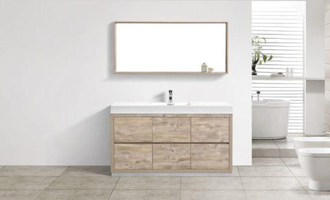 "Image of Bathroom Vanities - Bliss 60"" Single Sink Floor Mount Nature Wood Modern Bathroom Vanity"
