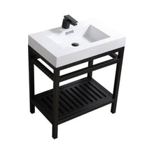 "Load image into Gallery viewer, Bathroom Vanities - Cisco 30"" Stainless Steel Console With Acrylic Sink - Matt Black"