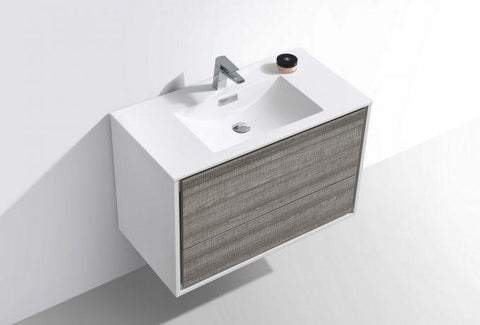 "Image of Bathroom Vanities - DeLusso 36""  Ash Gray Wall Mount Modern Bathroom Vanity"