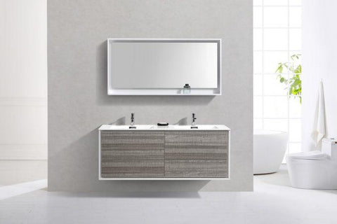 "Bathroom Vanities - DeLusso 60"" Double Sink  Ash Gray Wall Mount Modern Bathroom Vanity"