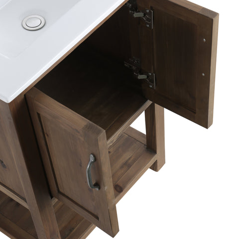 "Image of Bathroom Vanities - Design Element Austin 24"" Single Sink Bathroom  Vanity In Walnut"