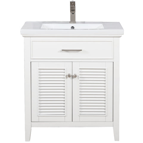 "Image of Bathroom Vanities - Design Element Cameron 30"" Single Sink Bathroom Vanity In White"