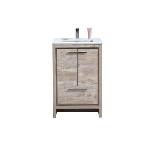 Bathroom Vanities - Dolce 24″ Nature Wood Modern Bathroom Vanity With White Quartz Counter-Top