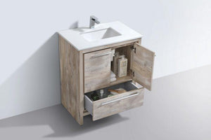 Bathroom Vanities - Dolce 30″ Nature  Wood Modern Bathroom Vanity With White Quartz Counter-Top