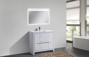 Bathroom Vanities - Dolce 36″ High Gloss White Modern Bathroom Vanity With White Quartz Counter-Top
