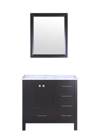 Image of Bathroom Vanities - Eviva Aberdeen 36 Inch Espresso Transitional Bathroom Vanity With White Carrara Marble Countertop And Undermount Porcelain Sink