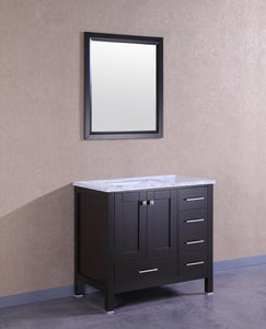 Bathroom Vanities - Eviva Aberdeen 36 Inch Espresso Transitional Bathroom Vanity With White Carrara Marble Countertop And Undermount Porcelain Sink