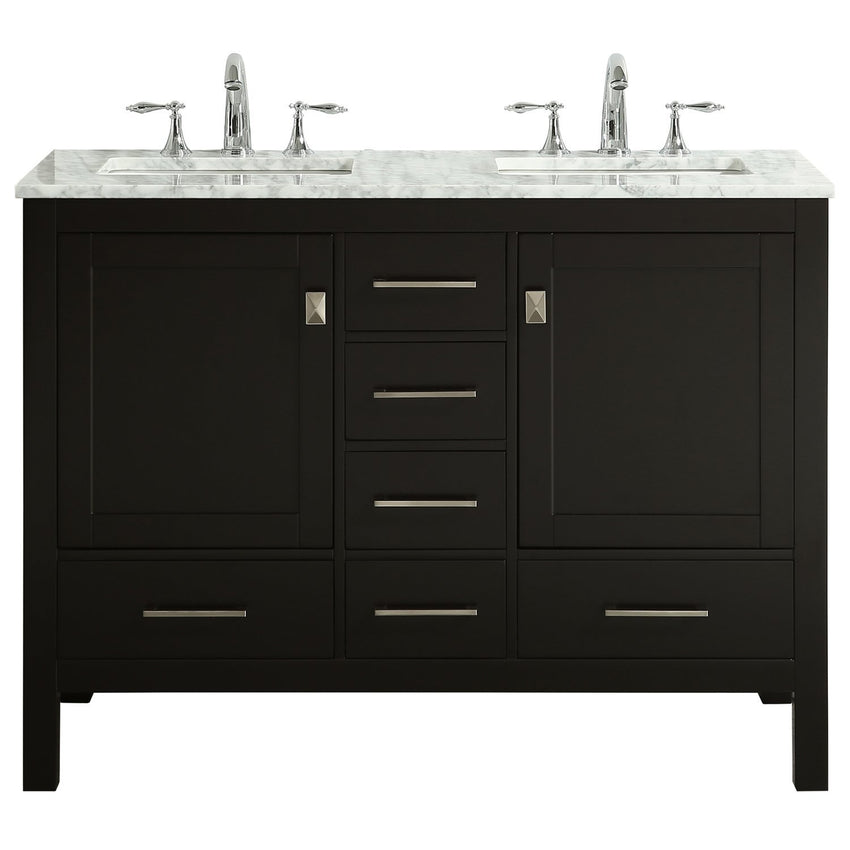 Bathroom Vanities - Eviva Aberdeen 48 Inch Espresso Transitional Double Sink Bathroom Vanity With White Carrara Marble Countertop And Undermount Porcelain Sinks