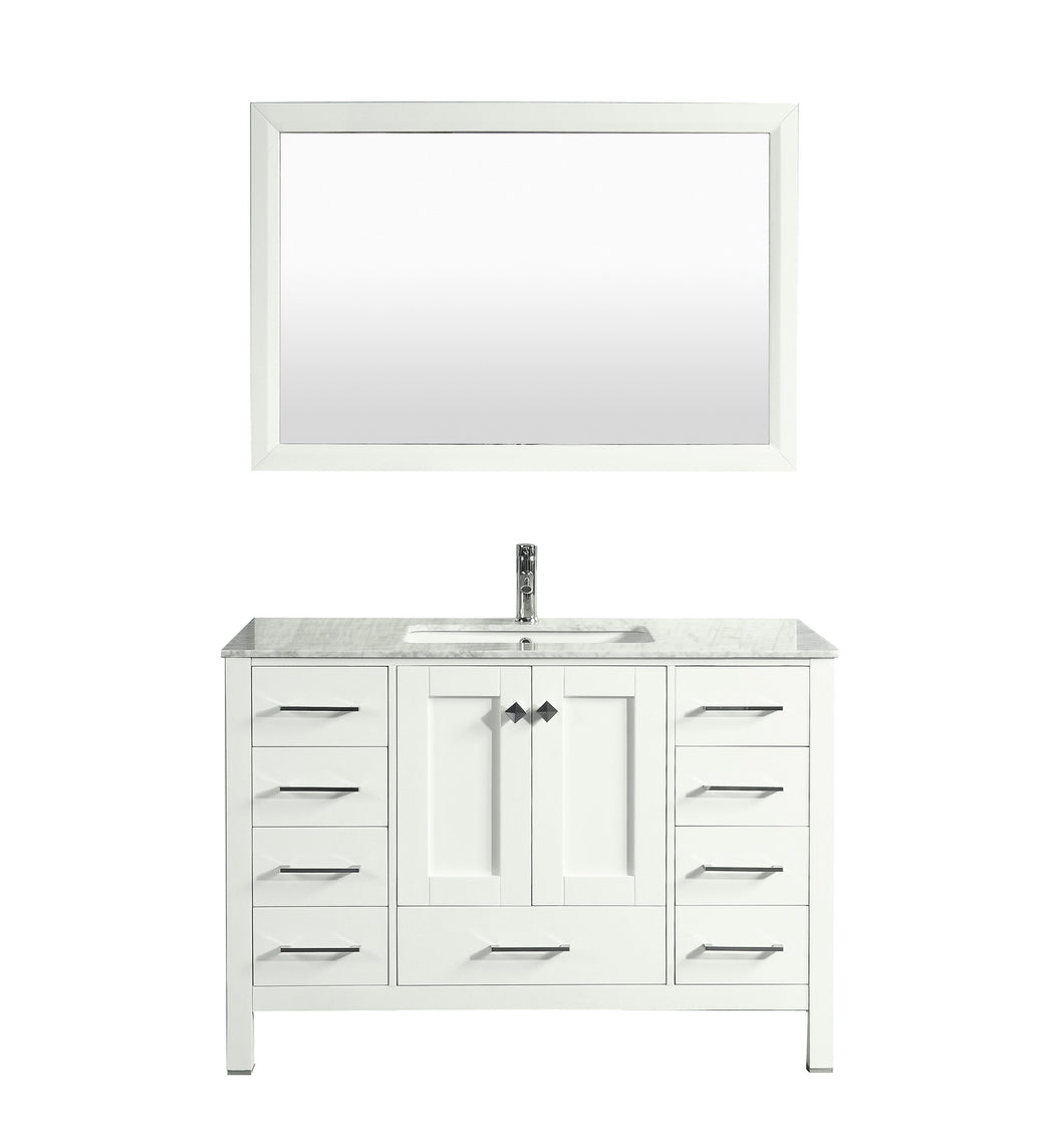 Bathroom Vanities - Eviva Aberdeen 48 Inch White Transitional Bathroom Vanity With White Carrara Marble Countertop And Undermount Porcelain Sink