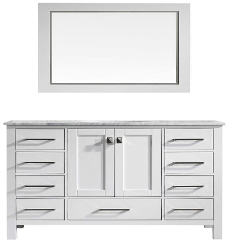 Image of Bathroom Vanities - Eviva Aberdeen 60 Inch White Transitional Single Sink Bathroom Vanity With White Carrara Marble Countertop And Undermount Porcelain Sink