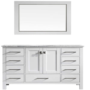 Bathroom Vanities - Eviva Aberdeen 60 Inch White Transitional Single Sink Bathroom Vanity With White Carrara Marble Countertop And Undermount Porcelain Sink
