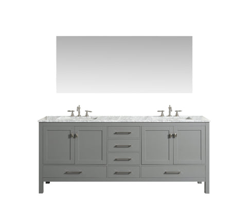 Image of Bathroom Vanities - Eviva Aberdeen 72 Inch Gray Transitional Double Sink Bathroom Vanity With White Carrara Marble Countertop And Undermount Porcelain Sinks